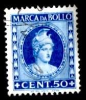 "MARCA BOLLO TASSA FISSA - CENT. 50 - FIL. RUOTA ALATA - ""IST. POL.STATO-ROMA"" - USATA - 6. 1946-.. Repubblica"