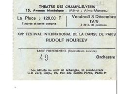 RUDOLF NOUREEV Théâtre Des Champs Elysées 1978 - Tickets - Entradas