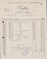 FACTURE SOCIETE VOILTEX 17 RUE CHAMPAGNE - TARARE (RHONE) - 16 JANVIER 1967 - Francia