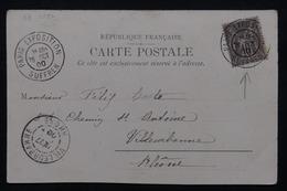 """FRANCE - Oblitération """" Paris Exposition Suffren """" Sur Carte Postale En 1900 Pour Villeurbanne - L 21543 - 1877-1920: Periodo Semi Moderno"""
