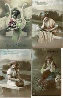 Lot Van 6 Fantasie Postkaarten - Muziekinstrumenten - Intrument De Musique - Piano - Postcards