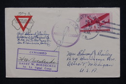 ETATS UNIS - Enveloppe Miltaire Pour Detroit En 1942 Avec Cachet De Censure - L 21552 - Marcophilie