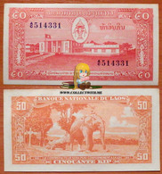 Lao Laos 50 Kip 1957 AUNC 2 Pinholes (stepler) - Laos