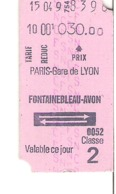 SNCF Train    PARIS Gare De Lyon - FONTAINEBLEAU -  AVON - Chemins De Fer