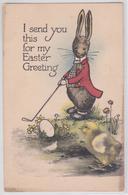 I Send You This For My Easter Greeting - Joyeuses Pâques - Lapin Humanisé Jeu De Golf - Tuck - Pâques