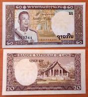 Lao Laos 20 Kip 1963 AUNC (yellow Tone) - Laos