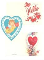 SAINT VALENTIN, Lot De 3 Documents, Coeur + 2 Petites Cartes ( 2 Volets ) Ange, Ruban, Découpis (Y320) - Saint-Valentin