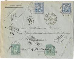 CALVADOS ( 13 ) « SAINT SYLVAIN » LRI 1er Ech. - Tarif à 40c. (1.4.1879/15.4.1906) * LI 1°/15g. : 15c. + DF Rec. : 25c. - Storia Postale