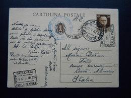 WW2 - ITALY OCCUPATION OF MONTENEGRO 1942- STOLIVO   - CATTARO - TOLLO CHIETI - 181 -  CENSURA ROMA - Montenegro