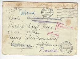 YVONAND CHEYRES NIDAU SPAHI EVADE RETOUR EXPEDITEUR CENSURE CENSOR WW2 SUISSE INTERNES CAMP INTERNEMENT /FREE SHIP. R - Storia Postale