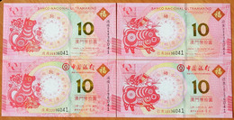 Macau 10 Patacas Commemorative 2018, 2019, GEM UNC (4 Notes) - Macao