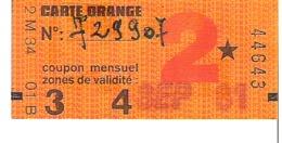 RATP  Coupon Mensuel De Carte Orange   Septembre 1981 - Abonnements Hebdomadaires & Mensuels