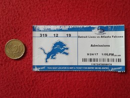 TICKET BILLETE ADMISSIONS SEAT LOCATOR FÚTBOL AMERICANO AMERICAN FOOTBALL DETROIT LIONS VS ATLANTA FALCONS UNITED STATES - Tickets - Entradas