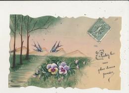 CARTE CELULLOID FLEURS ET HIRONDELLES CPA BON ETAT - Cartes Postales
