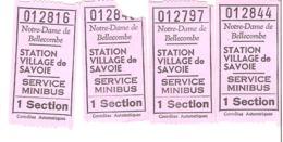 Notre Dame De Bellecombe  Service Minibus  1979   Lot De 4 Tickets - Bus
