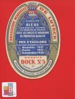 BRASSERIE NOUVELLE LUTECE BIERE BOCK Belle étiquette Dorée Circa 1939 - Birra