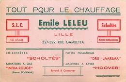 Buvard Ancien EMILE LELEU - CHAUFFAGE RADIATEURS A GAZ CUISINIERES - S L C SCHOLTES - WAZEMMES - Electricity & Gas