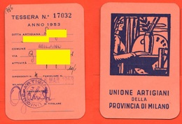 Milano Unione Artigiani Tessera Nominativa Anno 1953 - Organisations