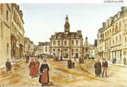 56. CPM. Morbihan. Auray. Lithographie De 1890 Représentant La Place De La Mairie à Auray (litho. Bretagne Ancienne) - Auray