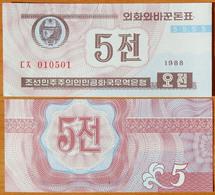 North Korea DPRK 5 Chon 1988 UNC With W/m АЭ-24.2a - Corea Del Nord