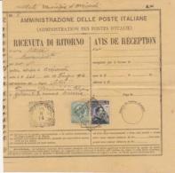 1914 ORZIVECCHI Tondo Riquadrato Su Avviso Di Ricevimento Affrancata Leoni C.5 E Michetti C.15 - Storia Postale
