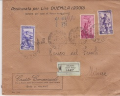 1951 P.A. CAMPIDOGLIO £.1000 E Italia Lavoro£.20 E 50 Su Assicurata Forza Maggiore Milano (14.2) - 6. 1946-.. Repubblica