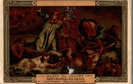 CHROMO MOKA LEROUX  MUSEE DU LOUVRE  DANTE & VIRGILE AUX ENFERS  ECOLE FRANCAISE DELACROIX EUGENE - Chromos