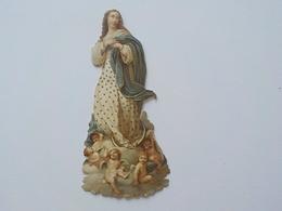 1900 Image Chromo Découpis Sainte Vierge ?? Angelots Chérubins - Devotieprenten