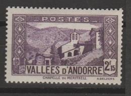 ANDORRA CORREO FRANCES SELLO NUEVO  ** LIGERA  SEÑAL DE    CHARNELA (C.CLASICOS. - Andorra Francese