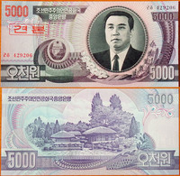 North Korea DPRK 5000 Won 2002 UNC Specimen АЭ-41.1s - Korea, Noord