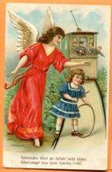 VAL155, Relief, Belle Fantaisie,Train, Cerceau, Jeux D'enfant, Ange, Angel, Engel, Circulée 1908 - Phantasie