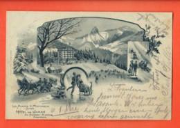 VAQ-04 Litho Ls Avants Sur Montreux Hotel De Jaman Nicodet, Luge, Patinage, Attelage Chevaux.Précurs. Circulé 1901 - VD Vaud