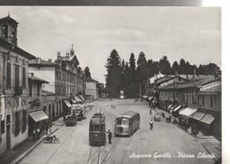 APPIANO GENTILE PIAZZA LIBERTA TRAM E AUTOBUS PANORAMA.VIAGGIATA .1955 F.P,-NM658 - Como