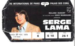 Serge Lama Au Palais Des Congrès Paris 1979 - Chrysler Simca Matra Bagheera X - Tickets D'entrée