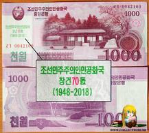 North Korea DPRK 1000 Won 2008 UNC 70th Anniversary Of The DPRK АЭ-54c - Corea Del Norte