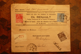 Lettre Chargée Renault  Abattoir La Villette Paris  1931 - France