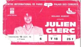 Julien Clerc Au Palais Des Congrès Paris 1978 - Volkswagen Polo - Tickets - Entradas