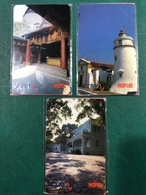 MACAU 1996\97 THE CHARMS OF MACAU SPECIAL PHONE CARDS, 1ST SET OF 3 UNUSED CARDS, VERY FINE AND RARE - Macau