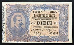 10 LIRE VITTORIO EMANUELE III° EFFIGE UMBERTO I° 29 07 1918 RARA SUP LOTTO 796 - [ 1] …-1946 : Koninkrijk