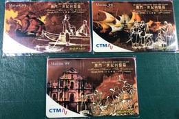 MACAU 1997\98 MACAU ACROSS THE CENTURIES SPECIAL PHONE CARDS SET OF 3 UNUSED CARDS, VERY FINE AND RARE - Macau