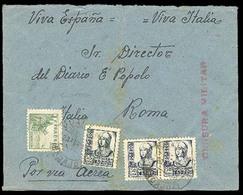 E-GUERRA CIVIL. 1938. Guarena/Badajoz A Roma. Aerea. Rara Censura. VF. - Zonder Classificatie