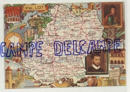 Carte Géographique Du Lot. Copyright By Blondel La Rougery. Paris 1945. Signée Pinchon - Cartes Géographiques