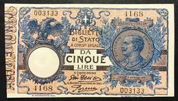 5 LIRE VITTORIO EMANUELE III° 29 07 1918 DELL'ARA PORENA OTTIMO ESEMPLARE SUP+ NATURALE  LOTTO 1652 - [ 1] …-1946 : Royaume