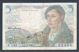 Billet 5 FRANCS BERGER 05/04/1945 - 1871-1952 Anciens Francs Circulés Au XXème