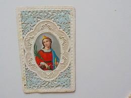 1900 Image Religieuse Chromo Découpis Canivet Dentelles Sainte Catherine - Devotion Images
