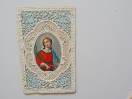 1900 Image Religieuse Chromo Découpis Canivet Dentelles Sainte Catherine - Devotieprenten