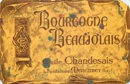 Buvard Ancien VIN BOURGOGNE BEAUJOLAIS - EMILE CHANDESAIS - FONTAINES MERCUREY - Liqueur & Bière
