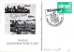 "DDR Privatganzs.PP 016C2/025 ""Bauwerke-10Pf.grün-Neptunbrunnen"",""PHILEX SCHWERIN-TORUN 1977"",SSt 20.10.77 SCHWERIN 1 - DDR"