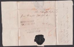 ESSLINGEN Altbrief 1849 Nach Tübingen, Schwarzer Siegellack, Faltbrief Mit Text - Deutschland