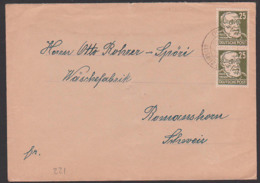 Ebmath üb. Oelsnitz Vogtland R. Vierchow 25 Pf(2) Köpfe I Auslandsbrief An Wäschefabrik Romanshorn Schweiz, SBZ 221, - Briefe U. Dokumente